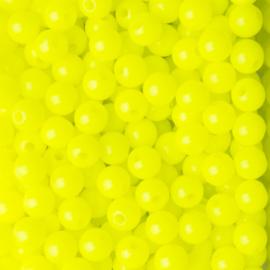20 x Acryl neon kraal Geel; Ø 6 mm, Gat 1,6 mm