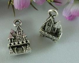 4 x Tibetaans zilveren 3D bedeltje van een kasteeltje   21 x 10 x 3mm gat: 3 mm
