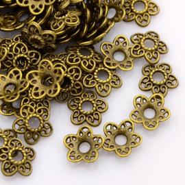 10 stuks tibetaans zilveren kralenkapjes geel koper kleur 10,7 x 11x2,5mm, gat: 3mm