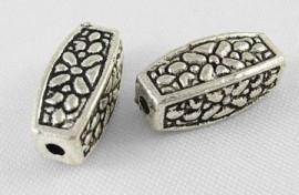 10 stuks Tibetaans zilveren kralen 12 x 5 x 5mm Gat 1,5