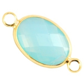 Crystal glas tussenstukken ovaal 10x14mm Aqua blue opal-Gold