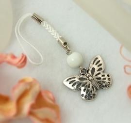2x Erg leuk mobielhangertje met een vlinder, wit.