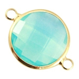 Prachtige facet geslepen crystal glas tussenstukken ca. 24x17mm Aqua blue