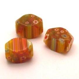 4 stuks Millefiori glas kraal 10x13x20mm
