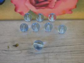 10x Ronde Glaskraal Blauw  transparant 8mm oogje: 1.8mm