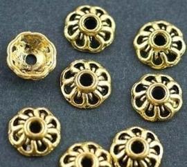 10 stuks Tibetaans zilveren kralenkapjes, goudkleur 9mm