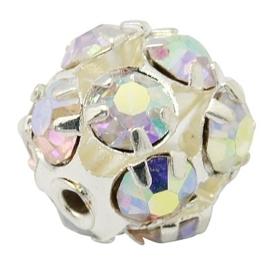 Verzilverde kristal ballen 10mm kristal AB