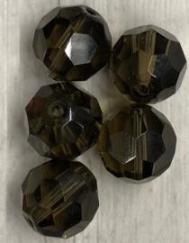 5 x Doorschijnend bruine glaskralen met facet 16mm gat 2mm