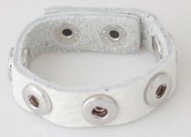 Armband leer wit 22 cm