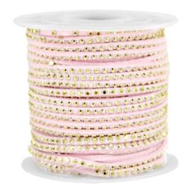 1 meter Imitatie leer 3mm met goud aluminium studs Imi suède 3mm met strass Gold-pastel light pink