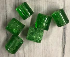 30 Stuks crackle kralen groen 7x8 groen
