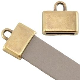 DQ metaal eindkapje vierkant (voor 5/10mm plat leer/aztec) Geel koper kleur  ca. 13x12mm (Ø10x2mm)