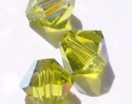 30 x Preciosa Kristal Bicone kraal 4 mm light olive