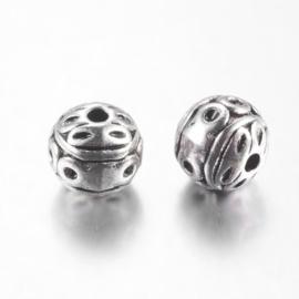 10  x Tibetaans zilveren bewerkte ronde kraal antiek zilver Maat +/- 8mm