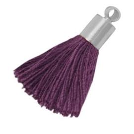 2 x Kwastjes met zilverkleurige eindkap medium Aubergine purple 24 mm