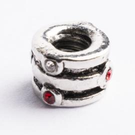 Be Charmed kraal zilver met een rhodium laag (nikkelvrij) c.a. 9 x 6mm groot gat: 4.2mm