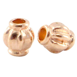 5 x DQ metaal kraal 4x3.5mm Rosé goud