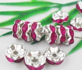 50 stuks Verzilverde Kristal Rondellen 8 mm fuchsia
