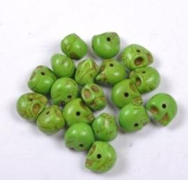 10 keramiek Howlite skulls licht groen 9 x 7,5 x 9mm Gat: 1mm