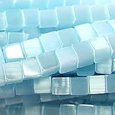 20 stuks Glaskraal kubus cate-eye 4mm turquoise