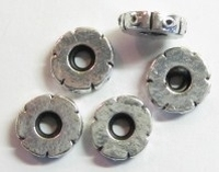 Per stuk Metalen European-style kraal rondel met rubber 12 mm