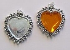 Per stuk Zilverkleurige metalen hanger hart 28 mm