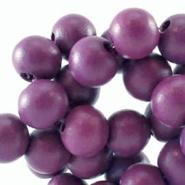 20 x Houten Kralen rond 6 mm Flint purple