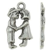 10x Tibetaans zilveren bedeltje van 2 verliefde mensen 11 x 22 x 2mm, Oogje: 2mm