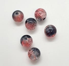 30 x mooie roze grijze crackle glaskralen van 8mm