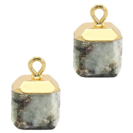 1 x Natuursteen hangers square Fossil grey-gold Shimmer Stone