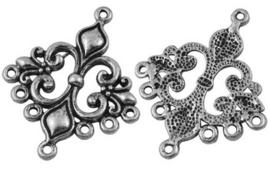 2 stuks tibetaans zilveren oorbellen ornamenten 36mm x 30mm x 2mm gat: 1.5mm
