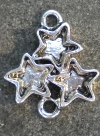 Metalen ornamentje tussenzetsel sterren 28 x 21mm