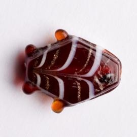 5  x vis kraal 18x18x8 mm kleur: rood bruin gat: 1mm