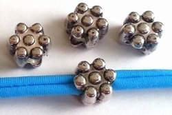 5 x European Jewelry kraal bloem antiek zilver metallook 10 mm