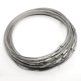 Spang lengte 46cm zilverkleur, sluiting glad