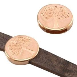 1 x DQ metaal schuiver Levensboom (DQ leer plat 10mm) Rosé Goud