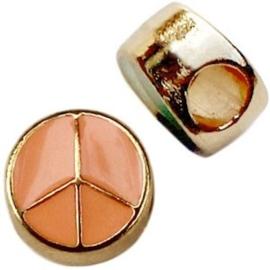 1x Metalen Schuiver Peace Goud Oranje 10 mm Ø 4.0 mm