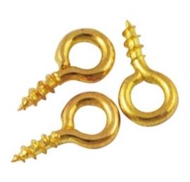 10 x Schroef bails voor half doorboorde kralen 8 x 4 x 1mm gat: 2mm goudkleur