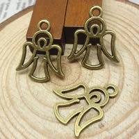 4 x Engel bedel Tibetaans Zilver geel koper kleur 21 x 17mm, gat: 1,5-3mm