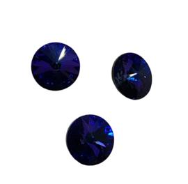 2x Precosia punt Kristal Rond Donker Blauw 6 mm
