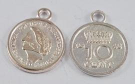 6 x Tibetaans antiek zilveren Wilhelmina dubbeltje muntje 15mm, gat: 2mm