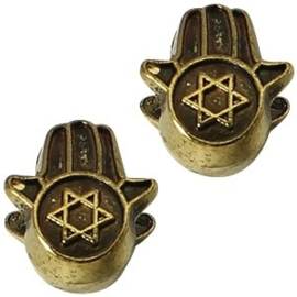 2 x Metalen Kraal Hand met Ster 13x11 mm Medium Antiek Goud Ø 4-5 mm
