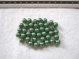 30 x prachtige glasparel 8mm gat: 1 mm kleur: groen