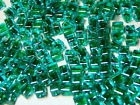 10 Stuks Glaskraal kubus transparant blauw/groen 7 x 9 mm