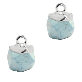 1 x Natuursteen hangers hexagon Ice blue-silver