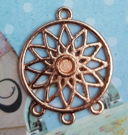 DQ metalen dreamcatcher hanger Rose Gold (nikkelvrij) Tray: 4mm; 33x27x2mm oogjes: 2mm