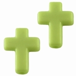 10 Stuks Kunststof kraal kruisje Groen 16 x 12 mm