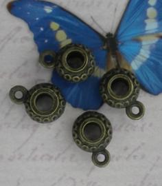 1 x Geelkoperen ronde bedeltjes 9x13mm Ø4mm oogje: 1,5mm