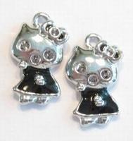 5 x Metalen hanger hello kitty zilver met zwarte epoxy 23 mm