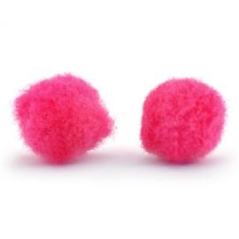 5 x Pompom bedel 8mm Raspberry pink ~zonder oogje